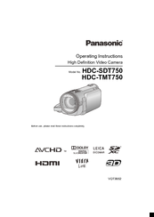 Panasonic HDC-SDT750 Operating Instructions Manual