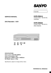 Sanyo HVR-DX610 Service Manual