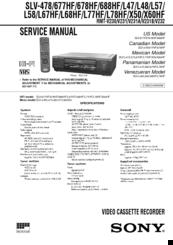 Sony Slv 688hf Video Cassette Recorder Manuals Manualslib