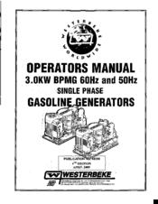 WESTERBEKE 3.0KW BPMG 60HZ OPERATOR'S MANUAL Pdf Download. on