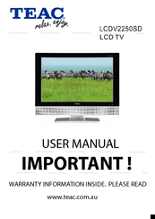 teac lcdv2250sd manuals rh manualslib com TEAC an 80 User Manual TEAC an 80 User Manual