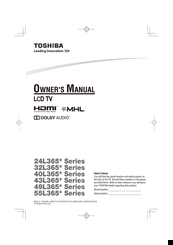 Toshiba 43L365 Series Owner's Manual