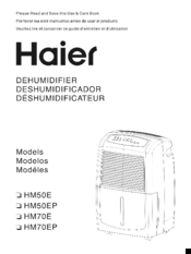 haier hm70ep manuals rh manualslib com Model Manual Hyer Dehumidifier 45Ea-L Haier Dehumidifier Walmart