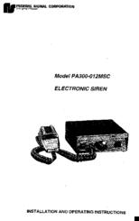 federal signal corporation pa300 012msc manuals rh manualslib com federal signal pa300 siren wiring diagram federal signal pa300 wiring diagram