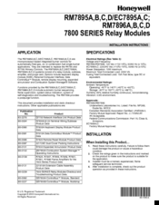 Honeywell 7800 SERIES EC7895A Installation Instructions Manual