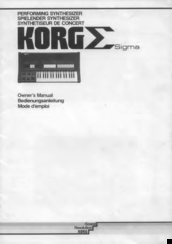 Korg Sigma Owner's Manual