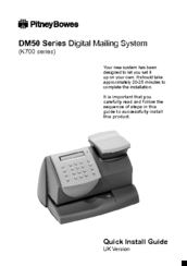 Pitney Bowes DM50 Series Quick Install Manual