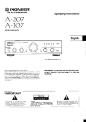 Pioneer A-207 MLXJ Operating Instructions Manual