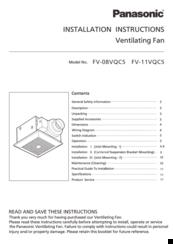 Panasonic Whispersense Fv 11vqc5 Manuals
