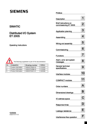 Siemens Simatic ET 200S Operating Instructions Manual