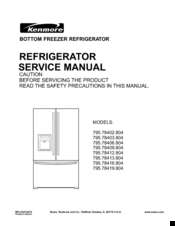 kenmore 795 78402 804 service manual pdf download rh manualslib com Kenmore Model 106 Refrigerator Manual Kenmore Refrigerator Model Numbers