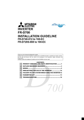 Mitsubishi Electric fr-e720-008 Installation Manuallines