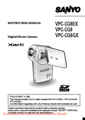 sanyo xacti vpc cg6 manuals rh manualslib com sanyo xacti user manual sanyo xacti user manual