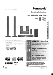 Panasonic sc-pt850: dvd home theater sound system operating.