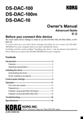 Korg DS-DAC-100m Owner's Manual