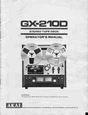 Akai GX-285D Tape Deck Owners Instruction Manual