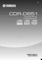 Yamaha CDR-D651 Owner's Manual