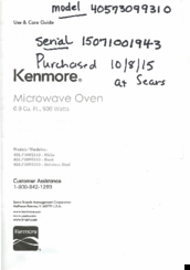 Kenmore 405.73099310 Use & Care Manual