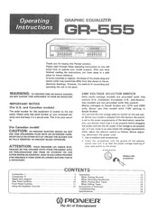 Pioneer GR-555 Operating Instructions Manual