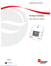 Beckman Coulter Microfuge 16 Manuals and User Guides ...