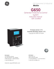 GE Multilin G650 Manual