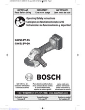Bosch GWS18V-45 Operating/Safety Instructions Manual