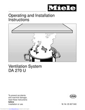 Miele DA 270 U Operating And Installtion Instructions