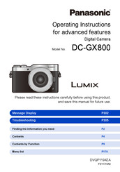 Panasonic DX-GX800 Operating Instruction And Advanced Features