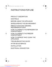 Whirlpool ARG 926 Instructions For Use Manual