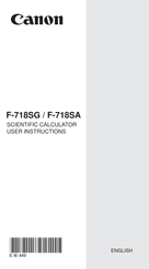 Canon F-718SG User Instructions