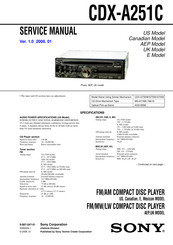 Sony CDX-A251C - Fm/am Compact Disc Player Service Manual