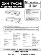 Hitachi HA-2800 Service Manual