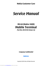 Nokia 1600 - Cell Phone 4 MB Service Manual