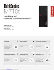 Lenovo THINKCENTRE M710t User Manual And Hardware Maintenance Manual