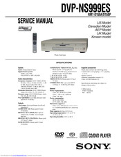 Sony DVP-NS999ES - Es Dvd Player Service Manual