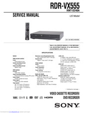 Operating Instructions user manual for Sony RDR-VX555