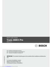 Bosch Tronic 3000 C Pro US12 Installation And Operating Instructions Manual