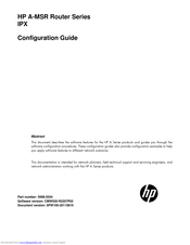 HP A-MSR Series Configuration Manual