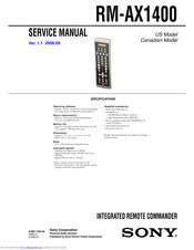 Sony RM-AX1400 - Home Theater Remote Control Service Manual