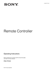 Sony RM-IP500 Operating Instructions Manual