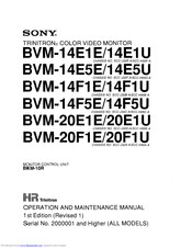 Sony TRINITRON BVM-14F1U Operation And Maintenance Manual