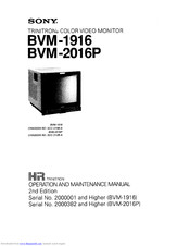 Sony BVM-2016P Operation And Maintenance Manual