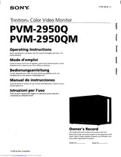 Sony PVM-2950Q Operating Instructions Manual