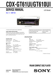 sony cdx gt61ui cd receiver with ipod connection manuals