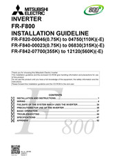 Mitsubishi Electric FR-F842-12120 Installation Manuallines
