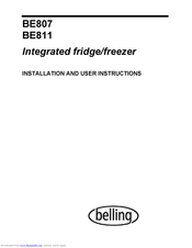 Belling BE811 Installation And User Instructions Manual