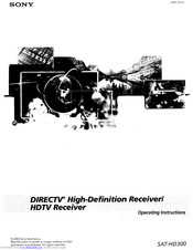 Sony SAT-HD300 - High Definition Satellite Receiver Operating Instructions Manual