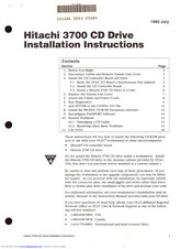 Hitachi 3700 Installation Instructions Manual