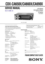 Sony CDX-CA660X - Fm/am Compact Disc Player Service Manual
