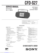 Sony cfd-s27 Service Manual